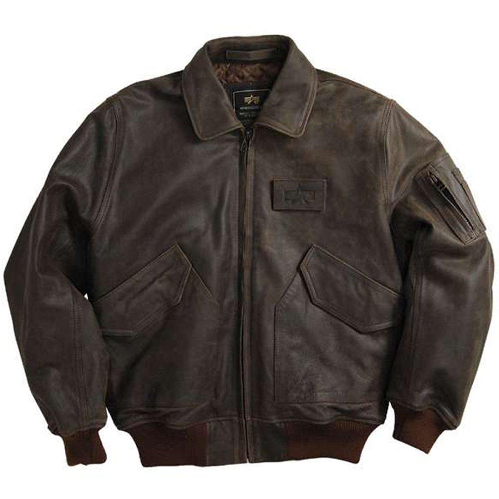Alpha Mens Leather CWU 45P Flight Jacket dbc03faf8bf