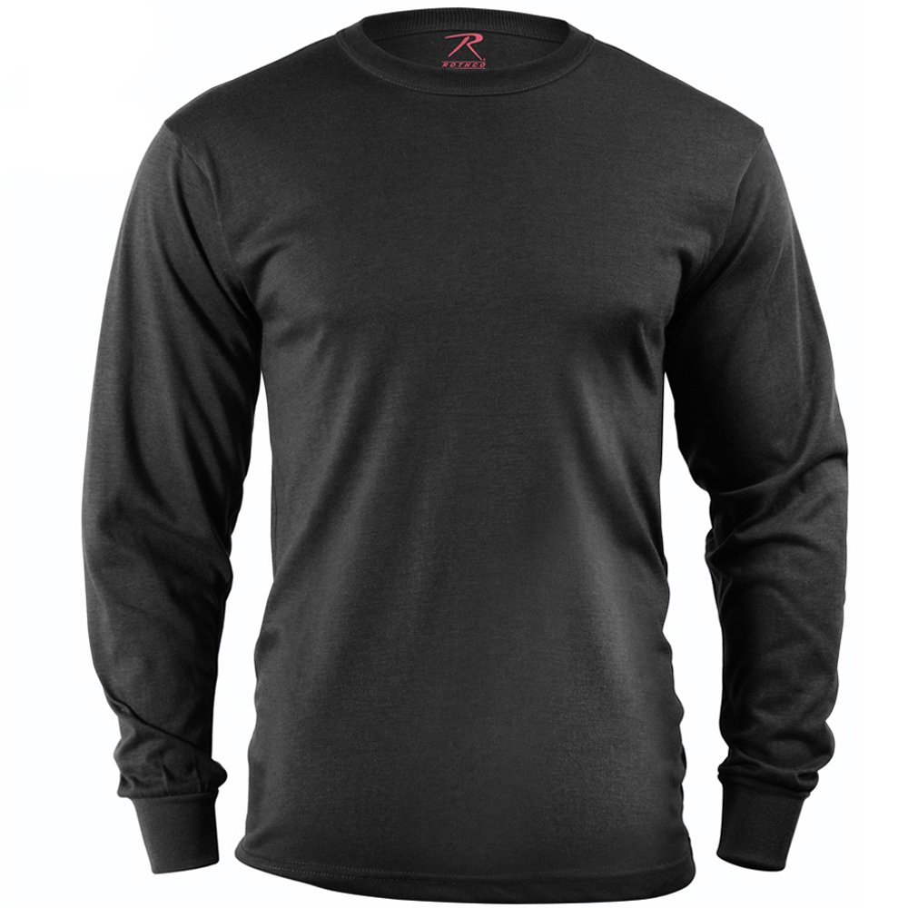 Mens long sleeve solid poly cotton t shirt for Long sleeve cotton tee shirts