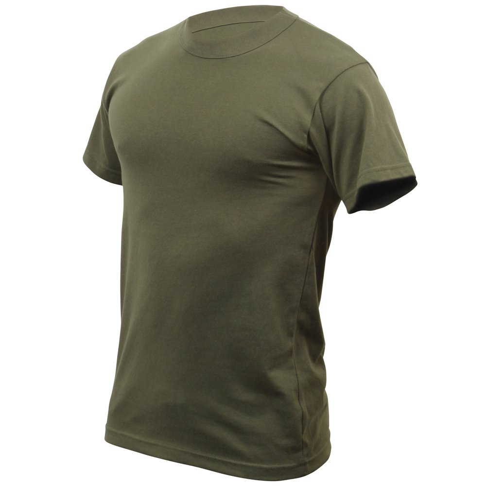 Mens Solid Color Poly Cotton Military T Shirt
