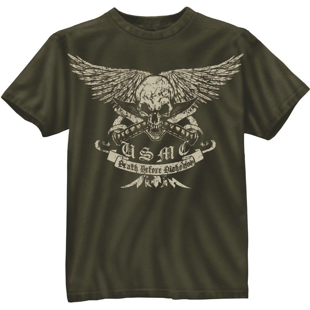 Mens Black Ink Vintage U S M C Death Before Dishonor T Shirt