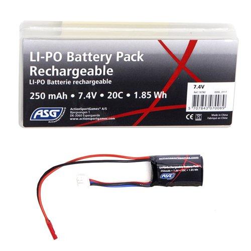 ASG 7.4V 250mAh 20C LiPO Compact Battery
