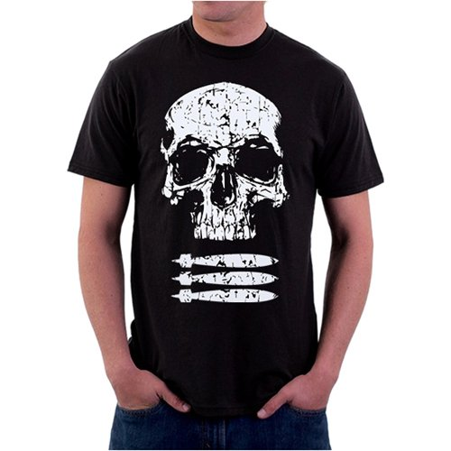 Black Ink Skull and Bombs Military T-Shirt