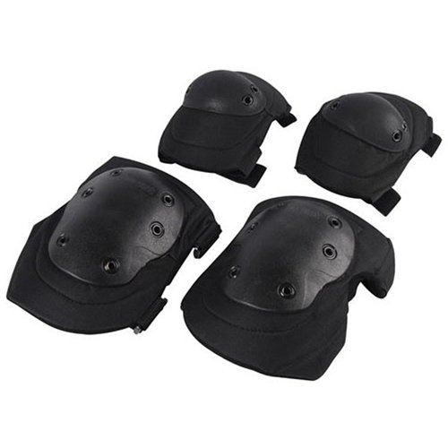 Black Elbow And Knee Pads Set