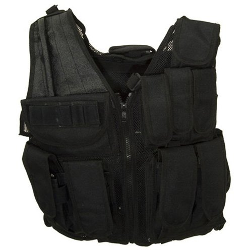 Black Tactical Vest with Attachments
