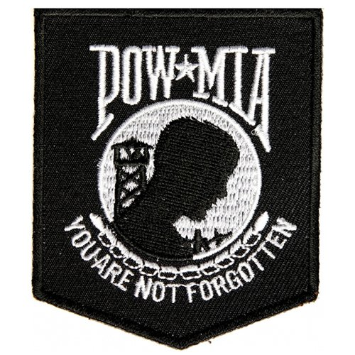 CP 2.5x3 Inch POW MIA Patch - Black/White