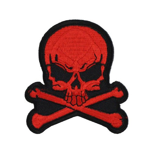 Small Red Skull and Cross Bones Biker Patch