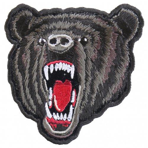 Small Bear Biker Patch - Black - 3.5x4 Inch
