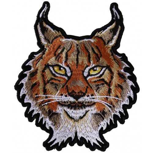 Lynx Cat Small Embroidered Patch - 3.6x4.5 Inch