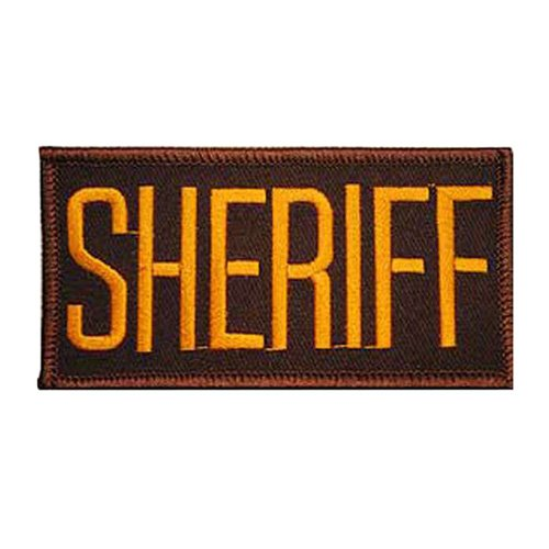 Eagle Emblem Sheriff Tab Gold-Brown Patch - 2x4 Inch