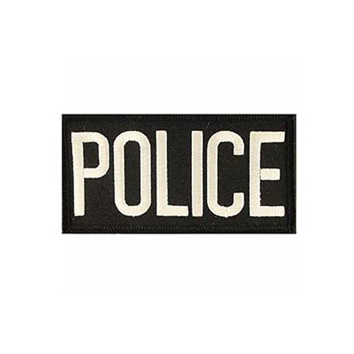 Police Tab White/Black 2 Inch by 4 Inch Patch