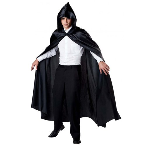 Black 75 Inch Hooded Cape
