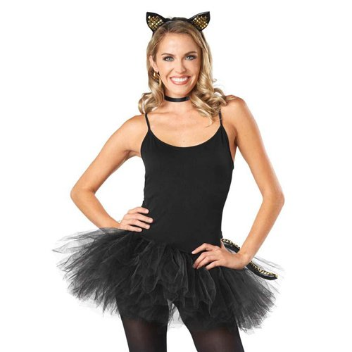 Women Kitty Punky Costume Kit - Black