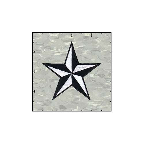 Star 3-D 3 Inches White And Black Patch