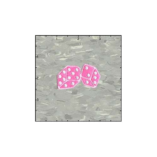 Dice Fuzzy 2 Inches Pink Plush Patch