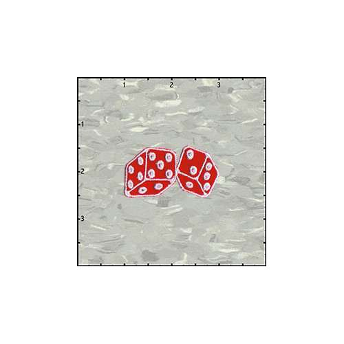 Dice Fuzzy 2 Inches Red Velveteen Patch