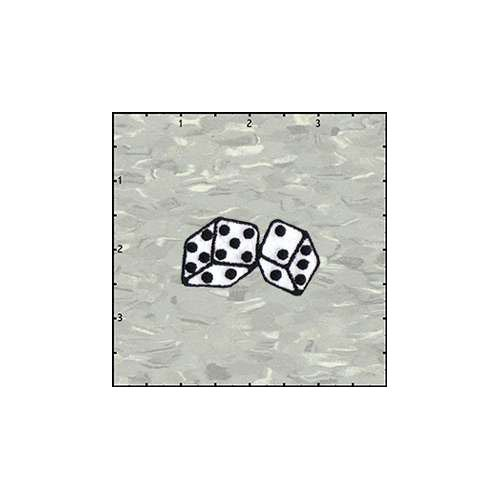 Dice Fuzzy 2 Inches White Velveteen Patch