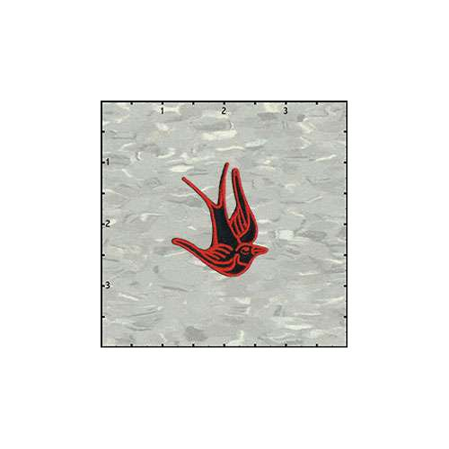 Birds Of Happiness 2 Inches Red On Black Left Patch