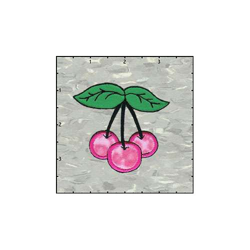 Cherries Trio Fuzzy 2.5 Inches Leopard Pink Patch