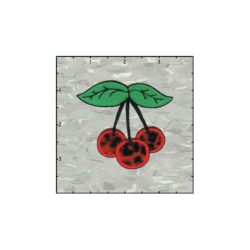 Cherries Trio Fuzzy 2.5 Inches Leopard Red Patch