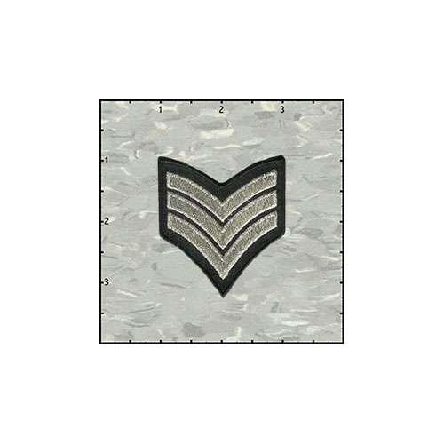 Stripes Three Silver On Black Patch