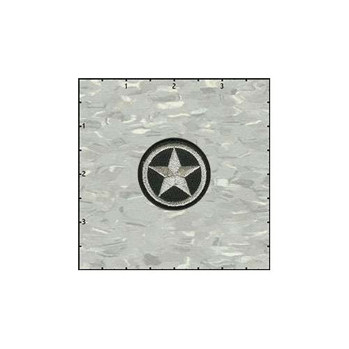 Star In Circle 1.5 Inches Silver On Black Patch