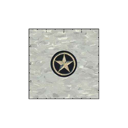 Star In Circle 1.5 Inches Gold On Black Patch