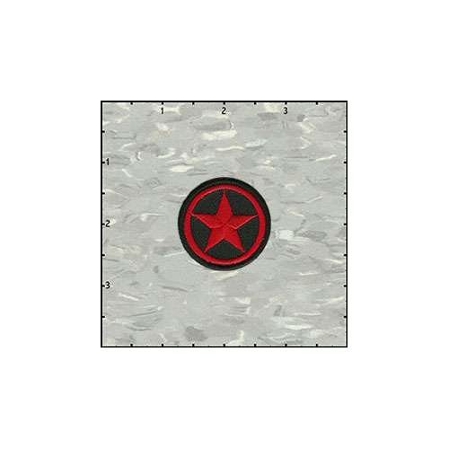Star In Circle 1.5 Inches Red On Black Patch