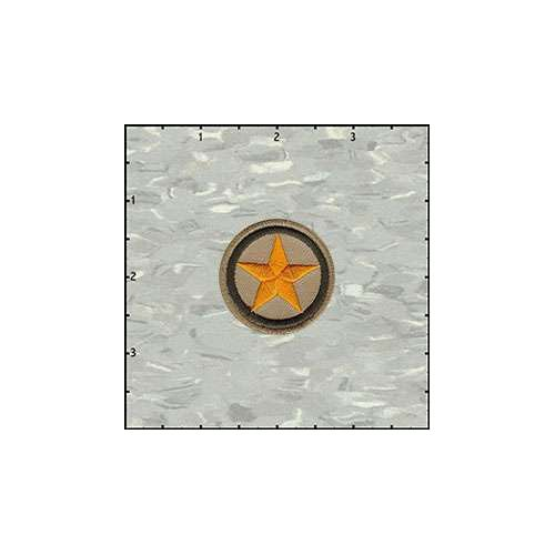 Star In Circle 1.5 Inches Yellow On Tan Patch