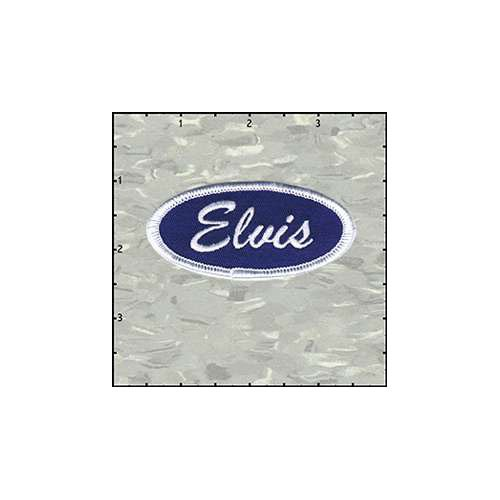 Name Tag Elvis White On Blue Patch
