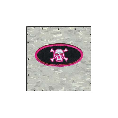 Name Tag Skull Classic Pink On Black Patch