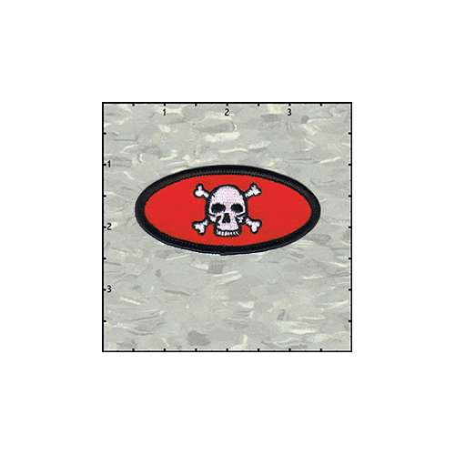Name Tag Skull Classic Black On Red Patch