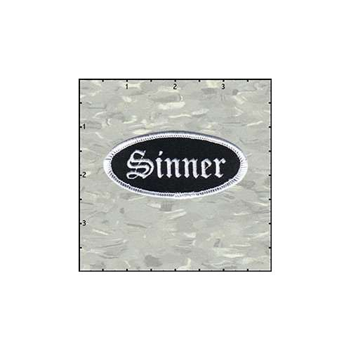 Name Tag Sinner White On Black Patch