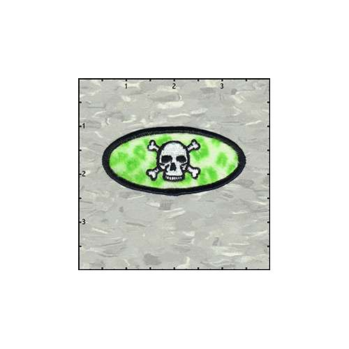 Name Tag Skull Classic Leopard Lime Green Plush Patch