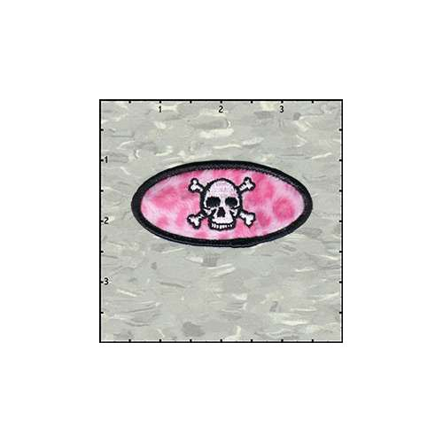 Name Tag Skull Classic Leopard Pink Plush Patch