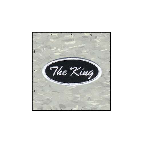 Name Tag The King White On Black Patch