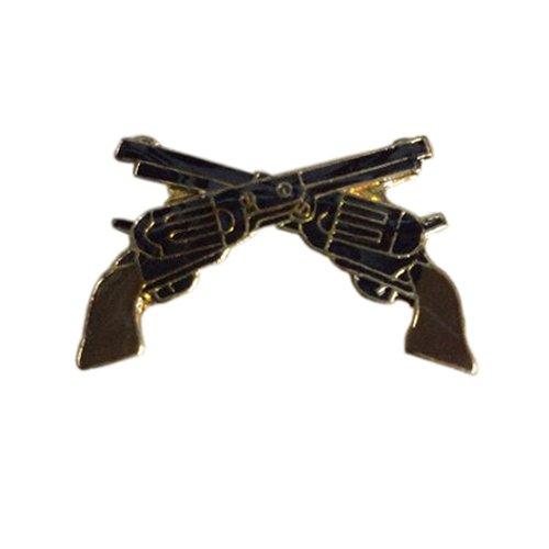 Revolver Guns Crossed Enamel Pin - 1 Inch
