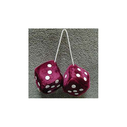Fuzzy Dice 3 Inches Burgundy Patch