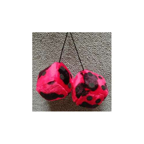 Fuzzy Dice 3 Inches Cow Red Patch