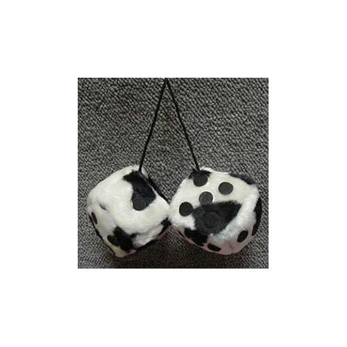 Fuzzy Dice 3 Inches Cow Bandw Patch
