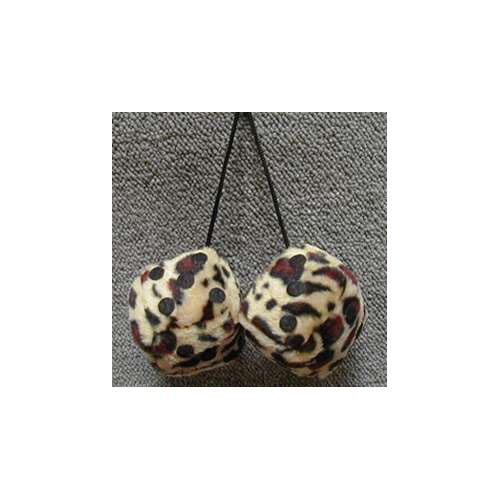 Fuzzy Dice 3 Inches Leopard  Brown Patch
