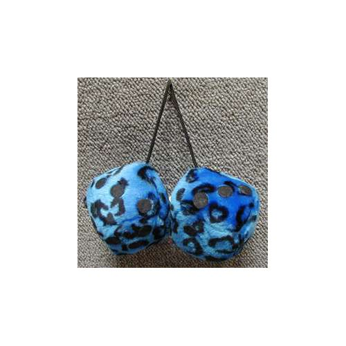Fuzzy Dice 3 Inches Leopard Blue Patch