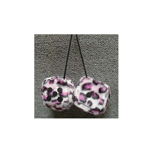 Fuzzy Dice 3 Inches Leopard Pink Patch