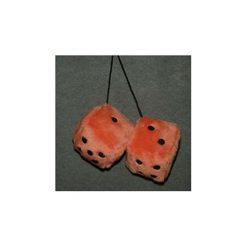 Fuzzy Dice 3 Inches Orange Burnt Patch