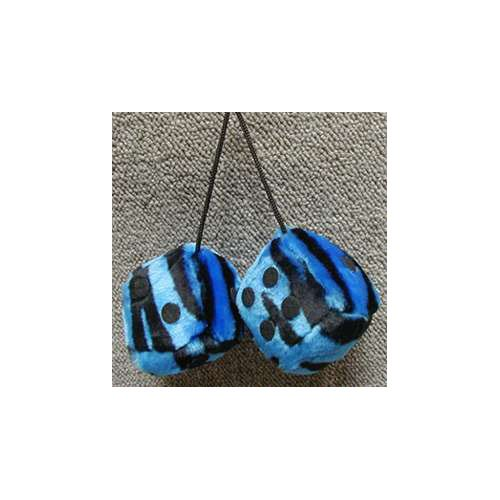 Fuzzy Dice 3 Inches Zebra Blue Patch