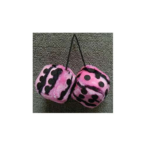 Fuzzy Dice 3 Inches Zebra Pink Light Patch
