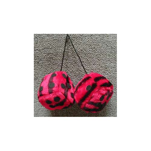 Fuzzy Dice 3 Inches Zebra Red Patch