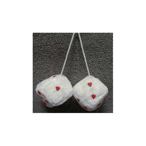 Fuzzy Dice 3 Inches White And Red Love Hearts Patch