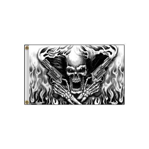 2 Metal Reinforced Assassin Skull Flag