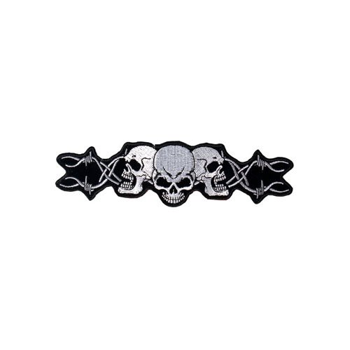 Barbed Wire Skull Trio Patch