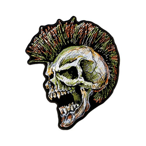 4W X 5H Rock N Roll Mohawk Multi Skull Patch